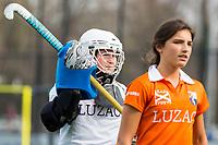 BLOEMENDAAL - hockey - Competitie Landelijk meisjes : Bloemendaal MB1-Den Bosch MB1 (1-1). keeper Hannah Huibregtsen van Bloemendaal.  COPYRIGHT KOEN SUYK