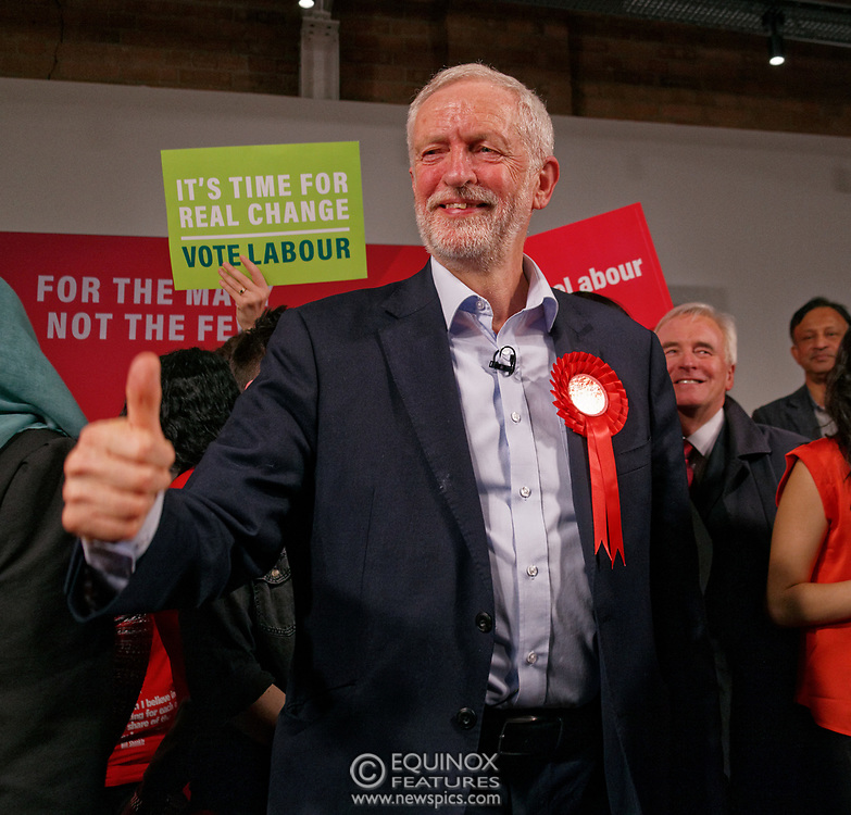 London, United Kingdom - 11 December 2019<br /> Labour Party leader Jeremy Corbyn speaking at their final campaign rally before the General Election 2019 at Hoxton Docks, London, England, UK.<br /> (photo by: EQUINOXFEATURES.COM)<br /> Picture Data:<br /> Photographer: Equinox Features<br /> Copyright: ©2019 Equinox Licensing Ltd. +443700 780000<br /> Contact: Equinox Features<br /> Date Taken: 20191211<br /> Time Taken: 21582386<br /> www.newspics.com