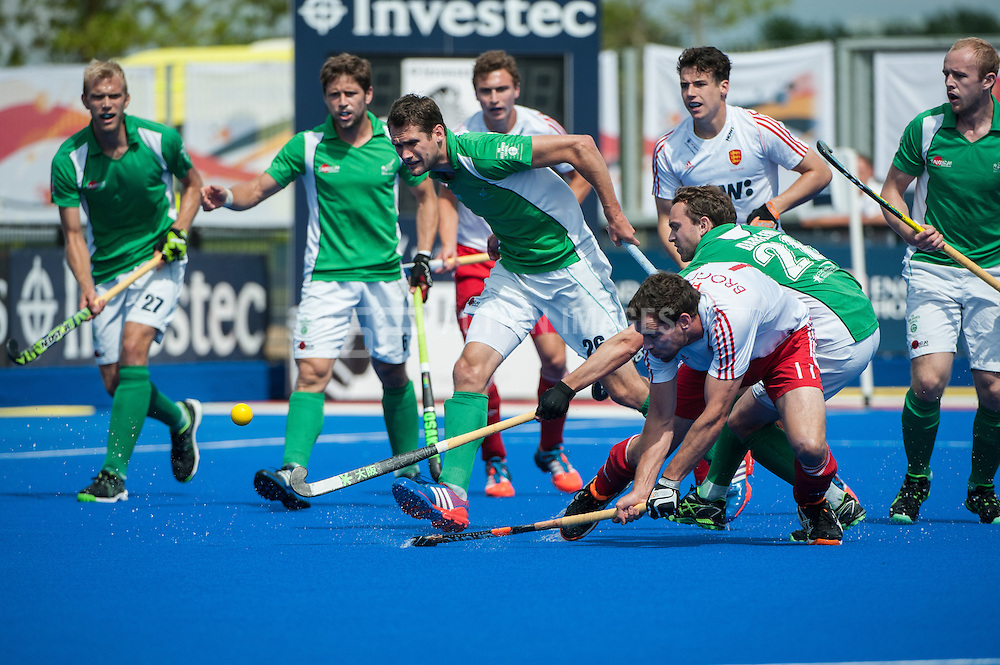England's Alastair Brogdon scores their first goal in the final of the Investec London Cup, Lee Valley Hockey & Tennis Centre, London, UK on 13 July 2014. Photo: Simon Parker