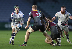 Jake Heenan of Bristol Bears takes on Hugh Tizard (19) and Will Evans of Harlequins - Mandatory by-line: Matt Impey/JMP - 26/12/2020 - RUGBY - Twickenham Stoop - London, England - Harlequins v Bristol Bears - Gallagher Premiership Rugby