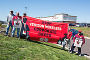 Members of CWA Local 13000 picketing outside of a Verizon Wireless store near Bloomsburg, Pennsylvania.