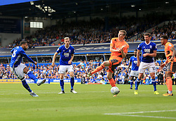 David Davis of Birmingham City sees his shot blocked by Jon Dadi Bodvarsson of Reading - Mandatory by-line: Paul Roberts/JMP - 26/08/2017 - FOOTBALL - St Andrew's Stadium - Birmingham, England - Birmingham City v Reading - Sky Bet Championship