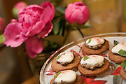 Luisa Shafi's mint and rosepetal pesto with honeyed goat cheese and rosepetal shortbread.