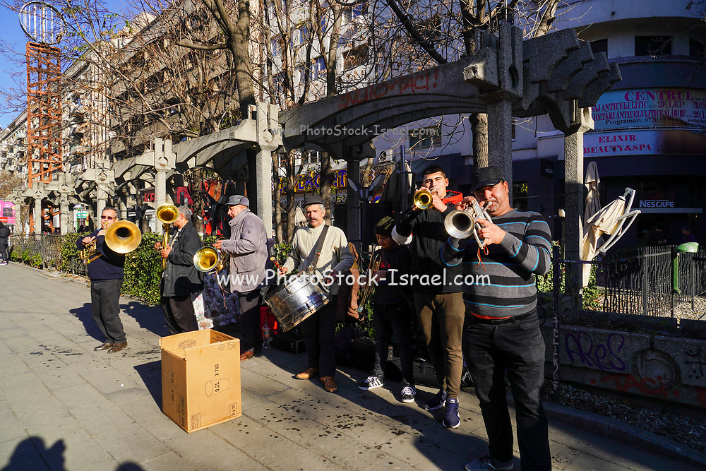 Brass band play in the street Bucharest, Romania.