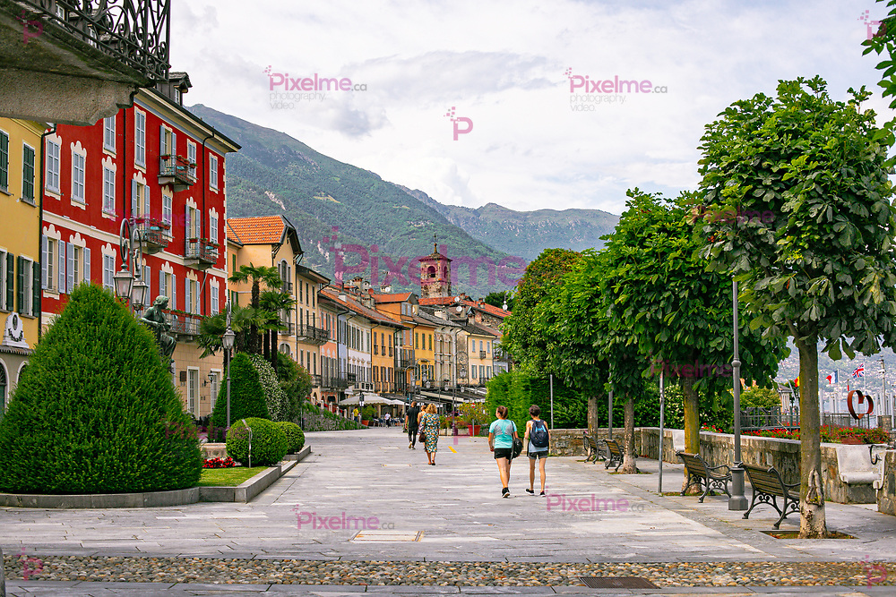 Landscape view of the Cannobio boulevard at the shore of Lago Maggiore by day, Piedmont, Italy, - June 13, 2020