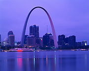 Jefferson National Expansion Memorial Gateway Arch and the city of St. Louis, Missouri across the Mississippi <br /> River from East St. Louis, Illinois.