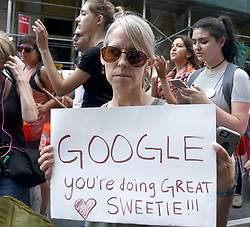 August 19, 2017 - New York, New York, U.S. - Demonstrator at the Counter Protest Alt Right March on Google. (Credit Image: © Nancy Kaszerman via ZUMA Wire)