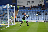 Portsmouth Goalkeeper, Craig MacGillivray (15) warming up during the EFL Sky Bet League 1 match between Portsmouth and Wycombe Wanderers at Fratton Park, Portsmouth, England on 22 September 2018.