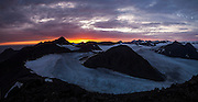 View of the upper tributaries of Hansbreen from Fugleberget at sunset above the Polish Polar Station in Hornsund, Svalbard.