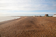 The coastal hamlet of Shingle Street seen from the beach, Suffolk, England