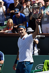 March 15, 2019 - Indian Wells, CA, U.S. - INDIAN WELLS, CA - MARCH 15: Roger Federer (SUI) waves to the fans after defeating Hubert Hurkacz (POL) in straight sets of a quarterfinals match played during the BNP Paribas Open on March 15, 2019 at the Indian Wells Tennis Garden in Indian Wells, CA. (Photo by John Cordes/Icon Sportswire) (Credit Image: © John Cordes/Icon SMI via ZUMA Press)