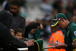 Dale Steyn of South Africa signs a bat during the 5th ODI match between South Africa and Australia held at Newlands Stadium in Cape Town, South Africa on the 12th October  2016<br /> <br /> Photo by: Shaun Roy/ RealTime Images