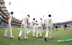General view as Australia take the field during day one of the Ashes Test match at The Gabba, Brisbane.