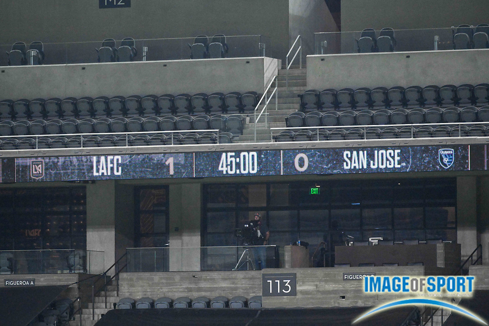 Detailed view of the halftime score score illuminated on the scoreboard during a MLS soccer game, Sunday, Sept. 27, 2020, in Los Angeles. The San Jose Earthquakes defeated LAFC 2-1.(Dylan Stewart/Image of Sport)