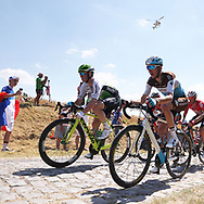 Romain Bardet (FRA - AG2R - La Mondiale) and Mark Renshaw, pass the first cobblestone section during the 105th Tour de France 2018, Stage 9, Arras Citadelle - Roubaix (156,5km) on July 15th, 2018 - Photo George Deswijzen / Proshots / ProSportsImages / DPPI