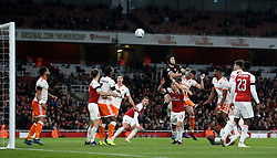 Arsenal goalkeeper Petr Cech clears the ball during the Carabao Cup, Fourth Round match at the Emirates Stadium, London.