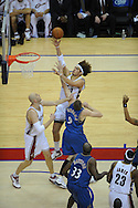 The Washington Wizards defeated the Cleveland Cavaliers 88-87 in Game 5 of the First Round of the NBA Playoffs, April 30, 2008 at Quicken Loans Arena in Cleveland.<br /> Anderson Varejao of Cleveland shoots over Darius Songaila