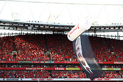 A tribute to Arsenal manager Arsene Wenger hangs in the stadium