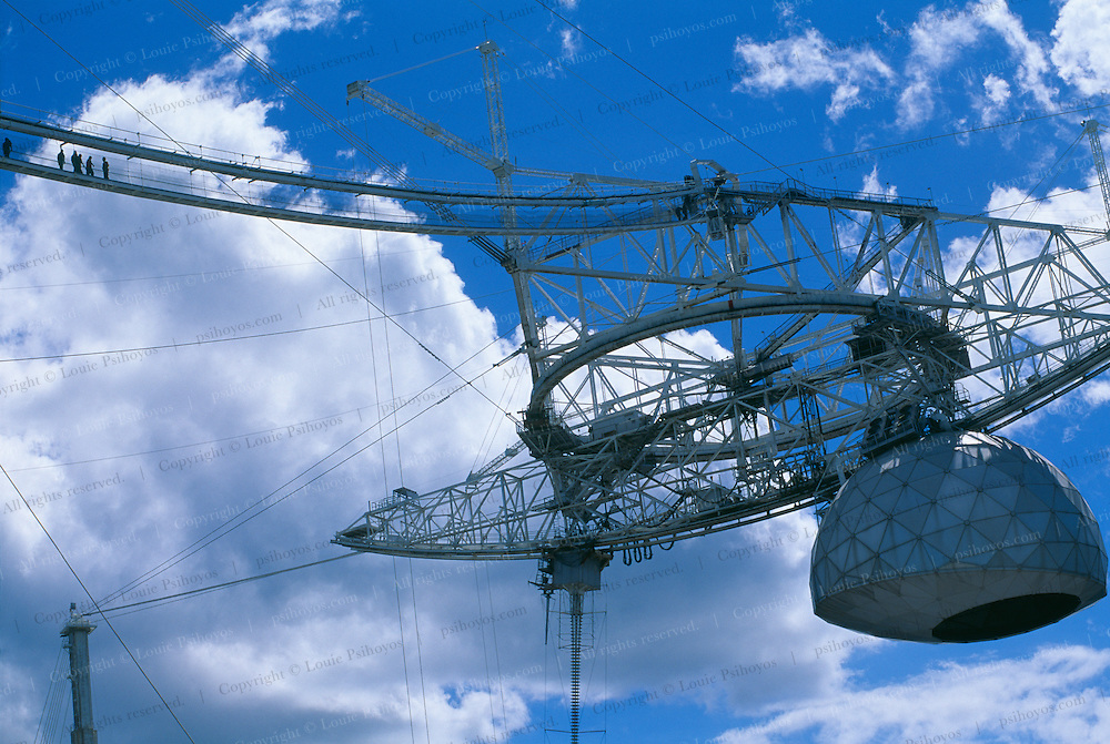 This 900 ton platform is suspended above the dish at Arecibo Observatory. The plaform houses the Azimuth Arm, linear antennas and the Gregorian Dome.