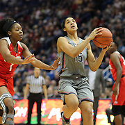 HARTFORD, CONNECTICUT- DECEMBER 19: Gabby Williams #15 of the Connecticut Huskies drives past Stephanie Mavunga #1 of the Ohio State Buckeyes during the UConn Huskies Vs Ohio State Buckeyes, NCAA Women's Basketball game on December 19th, 2016 at the XL Center, Hartford, Connecticut (Photo by Tim Clayton/Corbis via Getty Images)