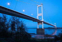 © Licensed to London News Pictures. 21/02/2019. Chepstow, Monmouthshire, UK. View of the Severn Bridge. Views around the Severn Bridge and the Second Severn Crossing. Photo credit: Simon Chapman/LNP