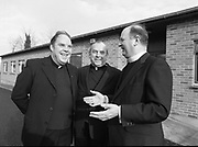 22 January 1981<br /> <br /> Cardinal Tomás Ó Fiaich and Bishop Eamonn Casey pictured at a press conference at the Catholic Press and Information Office in Booterstown Avenue for the announcement of a National Pilgrimage to Rome for 2500 young people
