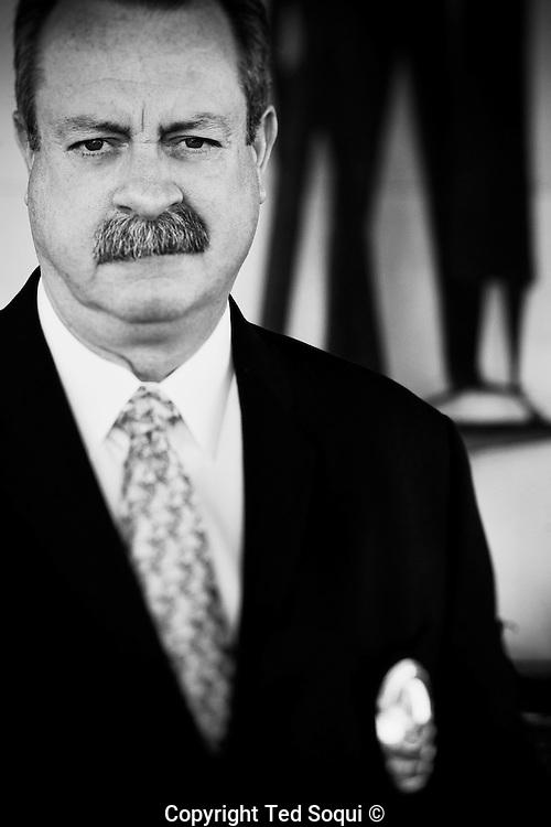 Detective Dennis Kilcoyne- the supervisor of the 800 Task Force LAPD- at Parker Center, downtown LA