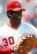 CINCINNATI - UNDATED:  Ken Griffey Sr. of the Cincinnati Reds looks on during an MLB game at Riverfront Stadium in Cincinnati, Ohio.  Griffey Sr. played on the Reds from 1973-1981 and 1988-1990.  (Photo by Ron Vesely)