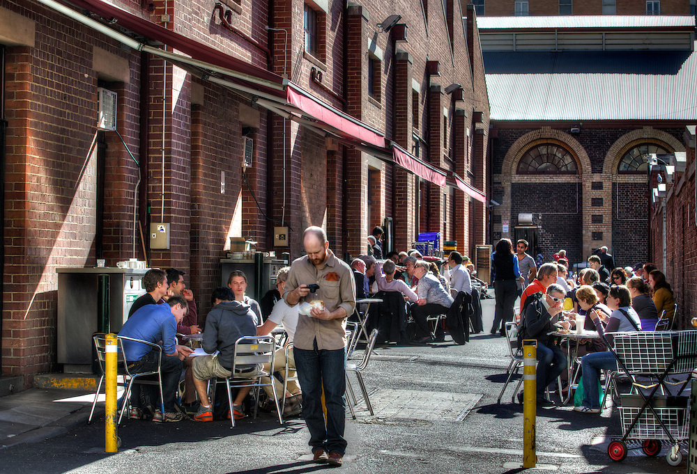 Sunny Melbourne. Queen Victoria Market, a laneway off Therry St. Pic By Craig Sillitoe CSZ/The Sunday Age.10/05/2012 melbourne photographers, commercial photographers, industrial photographers, corporate photographer, architectural photographers, This photograph can be used for non commercial uses with attribution. Credit: Craig Sillitoe Photography / http://www.csillitoe.com<br /> <br /> It is protected under the Creative Commons Attribution-NonCommercial-ShareAlike 4.0 International License. To view a copy of this license, visit http://creativecommons.org/licenses/by-nc-sa/4.0/.
