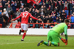 March 9, 2019 - Nottingham, England, United Kingdom - Karim Ansarifard (37) of Nottingham Forest celebrates after scoring a goal to make it 2-0 during the Sky Bet Championship match between Nottingham Forest and Hull City at the City Ground, Nottingham on Saturday 9th March 2019. (Credit Image: © Jon Hobley/NurPhoto via ZUMA Press)
