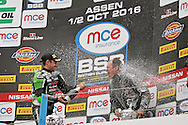 Leon Haslam (91) JG Speedfit Kawasaki sprays champagne as he makes it a double at the BSB Championship at the TT Circuit,  Assen, Netherlands on 2nd October 2016. Photo by Nigel Cole.