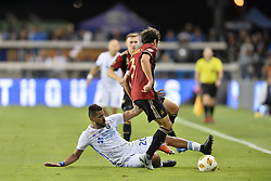 September 19, 2018 - San Jose, California, United States - San Jose, CA - Wednesday September 19, 2018: Anibal Godoy, Michael Parkhurst during a Major League Soccer (MLS) match between the San Jose Earthquakes and Atlanta United FC at Avaya Stadium. (Credit Image: © John Todd/ISIPhotos via ZUMA Wire)
