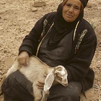 A Bedouin nomad holds a baby goat near Petra, Jordan.