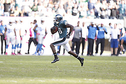 Philadelphia Eagles wide receiver Jeremy Maclin (18) carries the ball during the NFL game between the Detroit Lions and the Philadelphia Eagles on Sunday, October 14th 2012 in Philadelphia. The Lions won 26-23 in Overtime. (Photo by Brian Garfinkel)