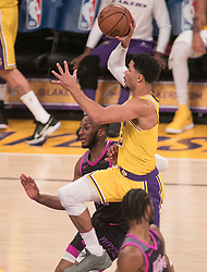 January 24, 2019 - Los Angeles, California, U.S - Josh Hart #3 of the Los Angeles Lakers goes for a shot during their NBA game with the Minneapolis Timberwolves on Thursday January 24, 2019 at the Staples Center in Los Angeles, California. Lakers lose to Timberwolves, 105-120. (Credit Image: © Prensa Internacional via ZUMA Wire)