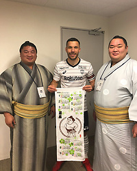 """Lukas Podolski releases a photo on Twitter with the following caption: """"""""Thought it would be nice to show them my sport ⚽👌🏼💪🏻 #support #sumosquats #friends"""""""". Photo Credit: Twitter *** No USA Distribution *** For Editorial Use Only *** Not to be Published in Books or Photo Books ***  Please note: Fees charged by the agency are for the agency's services only, and do not, nor are they intended to, convey to the user any ownership of Copyright or License in the material. The agency does not claim any ownership including but not limited to Copyright or License in the attached material. By publishing this material you expressly agree to indemnify and to hold the agency and its directors, shareholders and employees harmless from any loss, claims, damages, demands, expenses (including legal fees), or any causes of action or allegation against the agency arising out of or connected in any way with publication of the material."""