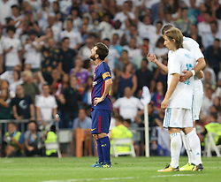 August 17, 2017 - Madrid, Spain - Barcelona's Argentinian forward Lionel Messi delusion during the second leg of the Spanish Supercup football match Real Madrid vs FC Barcelona at the Santiago Bernabeu stadium in Madrid, on August 16, 2017. (Credit Image: © Raddad Jebarah/NurPhoto via ZUMA Press)