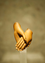 Pair of hands from a group statue of Akhenaten and Nefertiti at Neues Museum or New Museum on Museumsinsel or Museum Island in Berlin