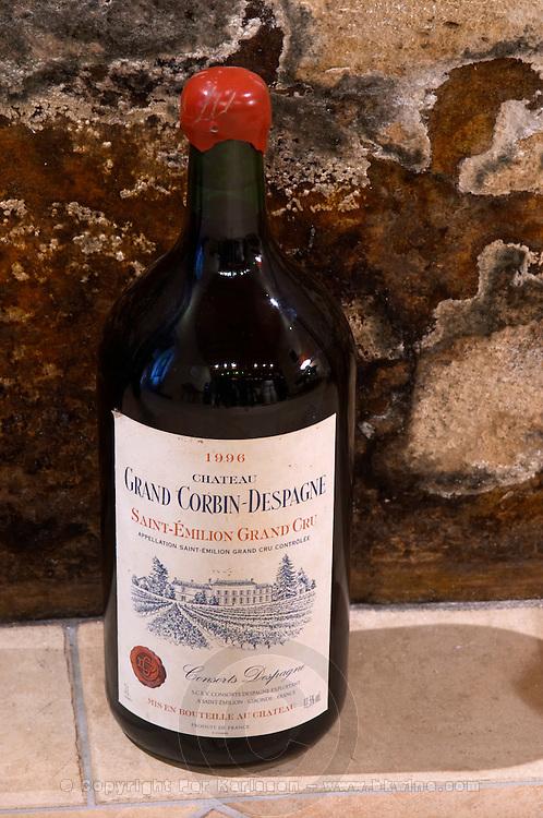 Bottle in the cellar. 1996. Double magnum. Chateau Grand Corbin Despagne, Saint Emilion Bordeaux France