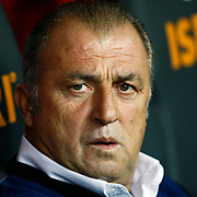 Galatasaray's Coach Fatih Terim and during their Turkish Super League soccer match Galatasaray between Akhisar Belediyespor at the TT Arena at Seyrantepe in Istanbul Turkey on Sunday 23 September 2012. Photo by TURKPIX