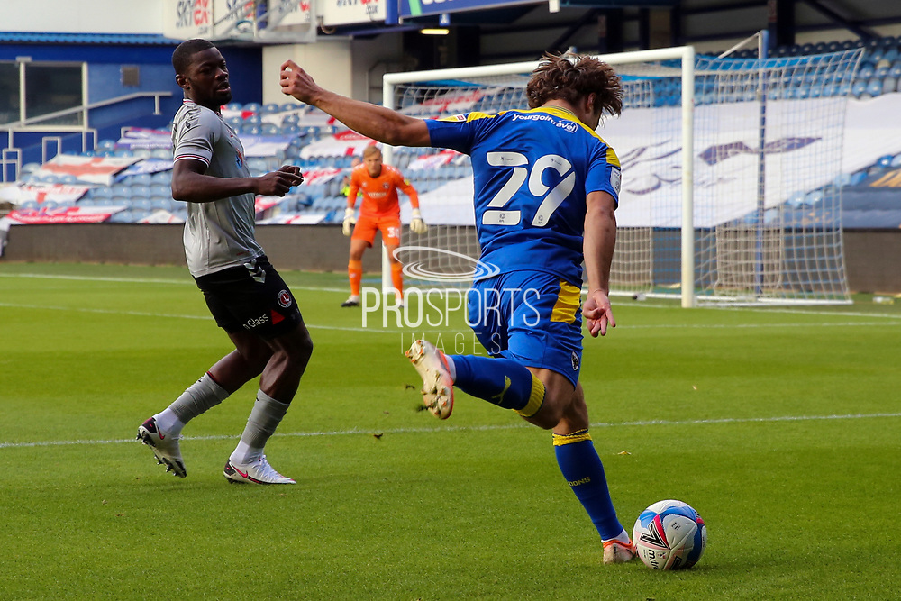 AFC Wimbledon attacker Zach Robinson (29) about to cross the ball during the EFL Trophy Group O match between AFC Wimbledon and Charlton Athletic at the Kiyan Prince Foundation Stadium, London, England on 1 September 2020.