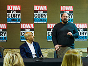 16 APRIL 2019 - CARROLL, IOWA: Senator CORY BOOKER, (D-NJ), left, is introduced to Iowa voters during a town hall event. Sen Booker is running to be the Democratic nominee for the US Presidency. Iowa traditionally hosts the the first selection event of the presidential election cycle. The Iowa Caucuses will be on Feb. 3, 2020.       PHOTO BY JACK KURTZ