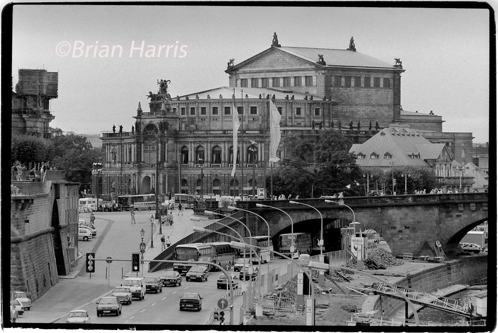 Dresden Eastern Germany after reunification 1994<br />Seen here The ruins of the Dresden Frauenkirche destroyed during bombing in February  1945 being prepared for reconstruction.<br />The Dresden Frauenkirche  Church of Our Lady is a Lutheran church in Dresden, the capital of the German state of Saxony.  Built in the 18th century, the church was destroyed in the bombing of Dresden during World War II. The remaining ruins were left for 50 years as a war memorial, following decisions of local East German leaders. The church was rebuilt after the reunification of Germany, starting in 1994. The reconstruction of its exterior was completed in 2004, and the interior in 2005. The church was reconsecrated on 30 October 2005