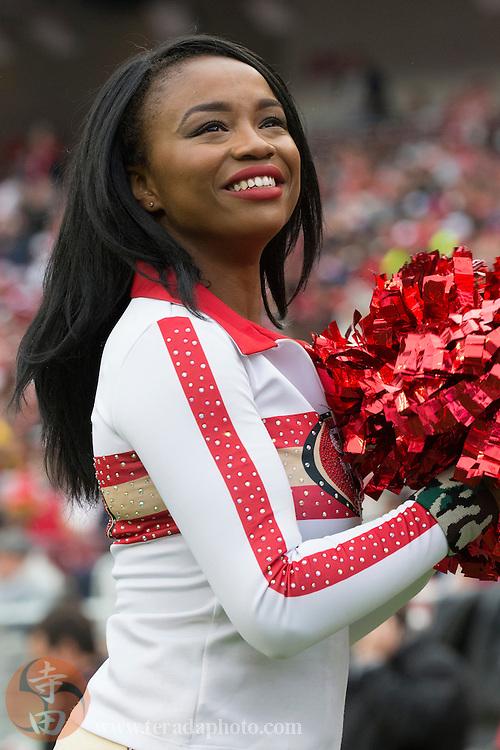 November 8, 2015; Santa Clara, CA, USA; San Francisco 49ers Gold Rush cheerleader Hawa performs during the first quarter against the Atlanta Falcons at Levi's Stadium. The 49ers defeated the Falcons 17-16.