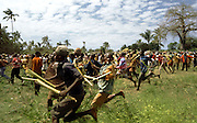 Combatants run during a fight with banana leaf steams at the Makunduchi fighting festival in Zanzibar, Tanzania, Africa. Wednesday,July 23rd 1997