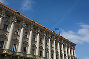The Eu flag flies from the roof of Cerninsky Palace on Pohorelec street in Hradcany district, on 19th March, 2018, in Prague, the Czech Republic.