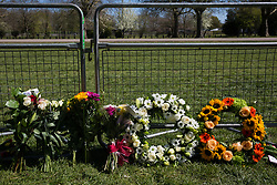 Windsor, UK. 17th April, 2021. Floral tributes are pictured alongside the Long Walk in Windsor Great Park on the day of the funeral of the Duke of Edinburgh. The funeral of Prince Philip, Queen Elizabeth II's husband, is taking place at St George's Chapel in Windsor Castle, with the ceremony restricted to 30 mourners in accordance with current coronavirus restrictions.