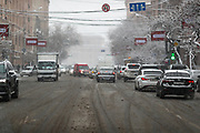 Snow hits Armenian capital Yerevan on Tuesday, Jan 19, 2021. The climate is highland continental, dry with four seasons. The air quality is generally acceptable for most individuals, with temperatures going low to -1°C. However, sensitive groups may experience minor to moderate symptoms from long-term exposure says 'AccuWeather' weather cast website. (Photo/ Vudi Xhymshiti)