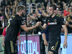 November 1, 2018 - Los Angeles, California, U.S - Danilo Silva #6 of the LAFC is congratulated by Walker Zimmerman #25 during their MLS playoff game with the Real Salt Lake on Thursday November 1, 2018 at Banc of California Stadium in Los Angeles, California. LAFC vs Real Salt Lake. (Credit Image: © Prensa Internacional via ZUMA Wire)