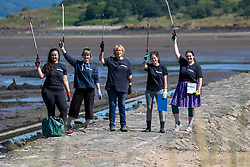 15JUL21 Hannah Lee, Kirsty Crawford , Lesley Anderson, Lin cooper and Catherine Gemmell. <br /> The Marine Conservation Society launching it's big beach clean up volunteer call at Cramond beach this morning.